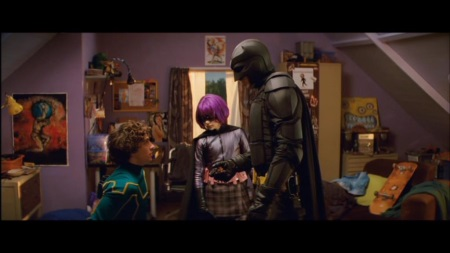 Trio Infernale. V.l.n.r.: Kick-Ass, Hit Girl und Batman...Verzeihung: Big Daddy. | Quelle: Kick-Ass DVD / Universal