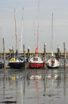 Trockengelegt: Boote im Rantumer Hafen.